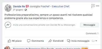 Davide Re è un cliente che da tempo è in fase di avviamento di una attività ristorativa