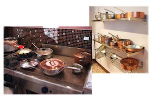 Un gruppo di casseruole simili a quelle che si potrebbero vedere durante questo corso di cucina personalizzato.