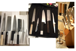 Un gruppo di coltelli simili a quelli che si potrebbero vedere durante il corso di cucina.