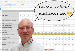L'executive chef Francesco de Francesco con un frammento di Business Plan dietro le spalle.