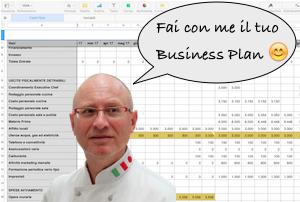 L'executive chef Francesco de Francesco con un frammento di Business Plan dietro le spalle.