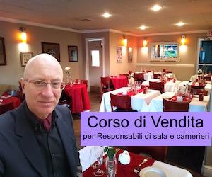 Copertina ufficiale del corso di vendita nella ristorazione, per responsabili di sala e camerieri.