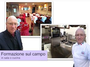 L'executive chef Francesco de Francesco presente nella sala o nella cucina di un ristorante, per fare formazione sul campo.