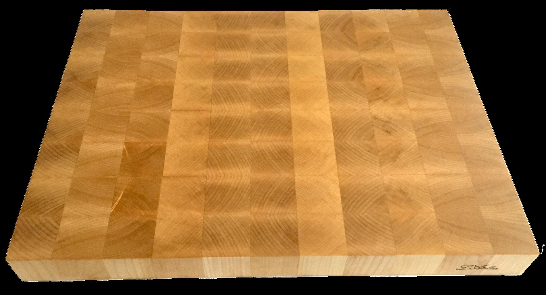 Il tagliere di legno d'acero, lavorato end-grain, per l'uso di coltelli da cucina di grande qualità.
