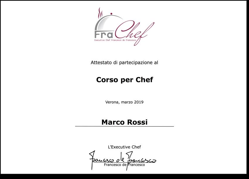 Un esempio di attestato di partecipazione al corso chef, che ho rilasciato negli anni.