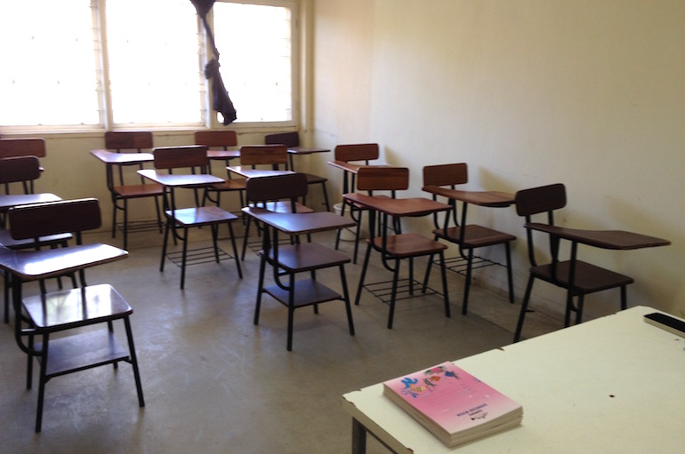 L'aula dove ho tenuto il corso di cucina professionale alla brigata di cucina del ristorante.