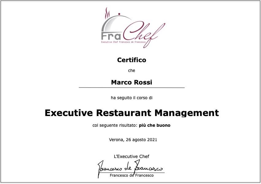 Il Certificato di Executive Restaurant Management che rilascio a fine corso.