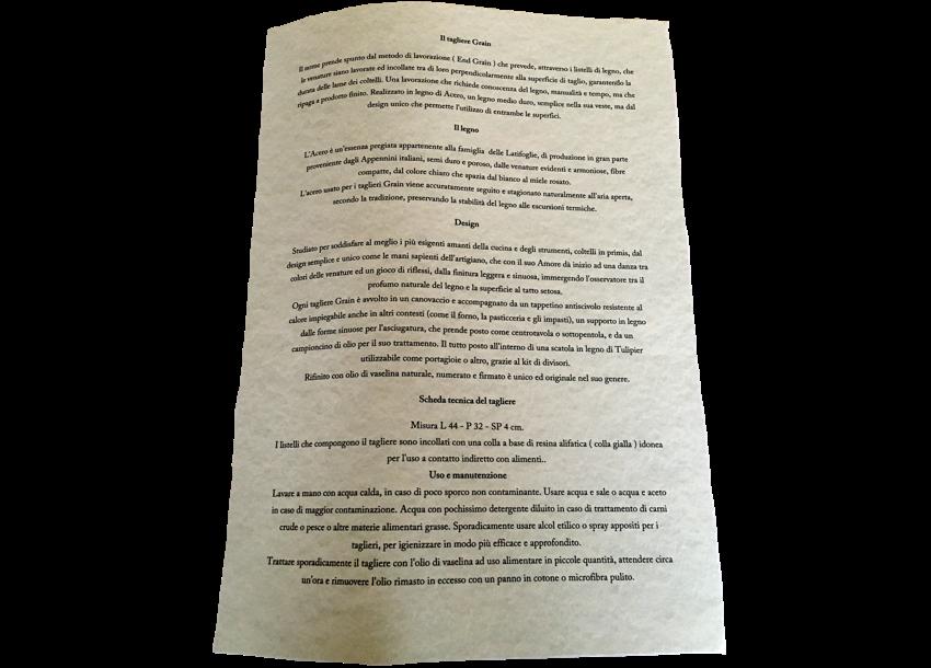 Il certificato che accompagna il tagliere in legno d'acero.