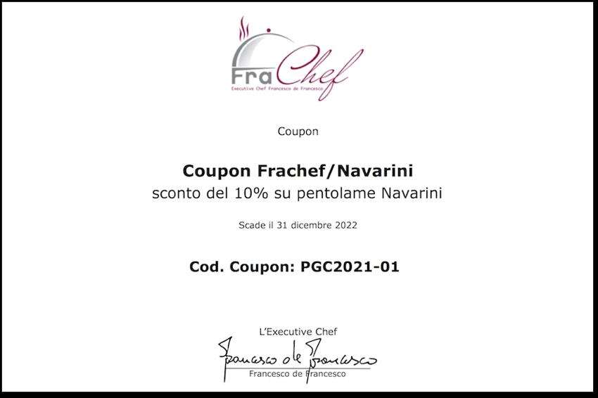 Coupon per l'acquisto agevolato di pentolame da Navarini.