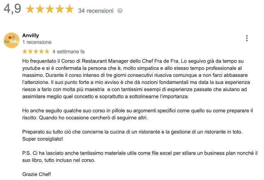 La recensione di Anvilly, che ha frequentato un corso di restaurant management.