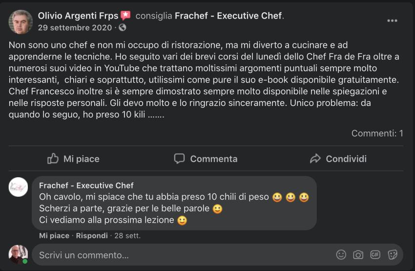 La recensione di Olivio del corso gratuito di ristorazione e cucina Frachef: my 2 cents.