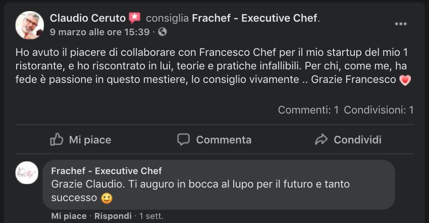 La recensione Claudio per l'avviamento del suo ristorante.
