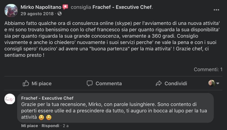 La recensione di una delle tante persone a cui ho dato consulenza online sulla ristorazione.