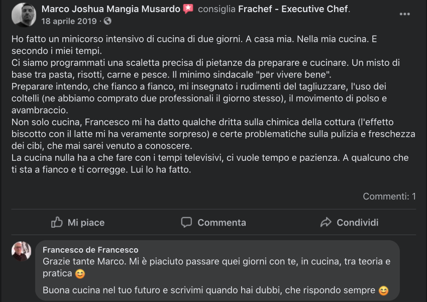La recensione di un allievo dei corsi di cucina amatoriale.