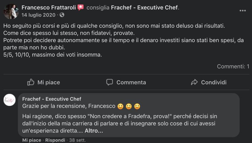 La recensione dell'allievo Francesco Frattaroli dopo aver seguito il corso per executive chef.