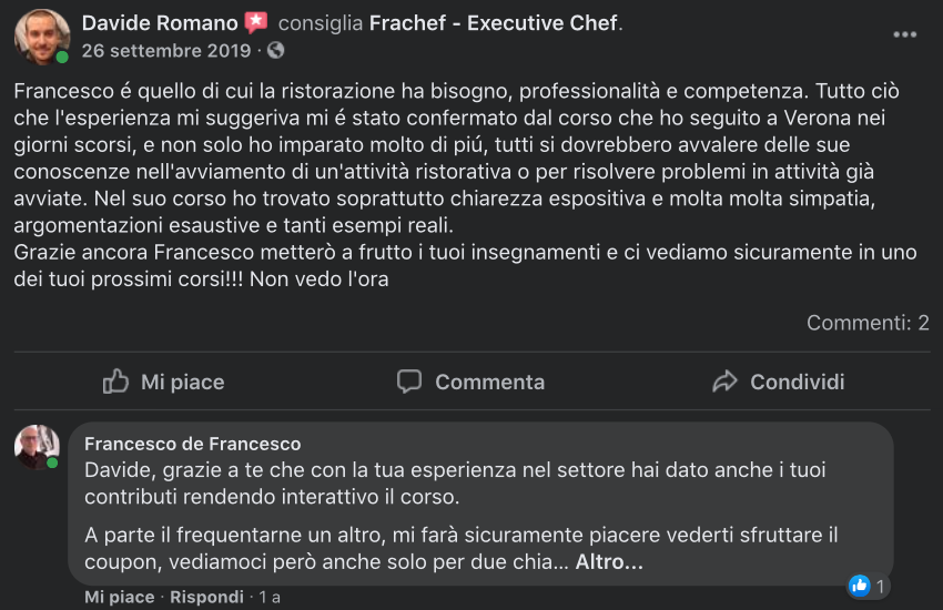 La recensione dell'allievo Davide Romano dopo aver seguito il corso di marketing.
