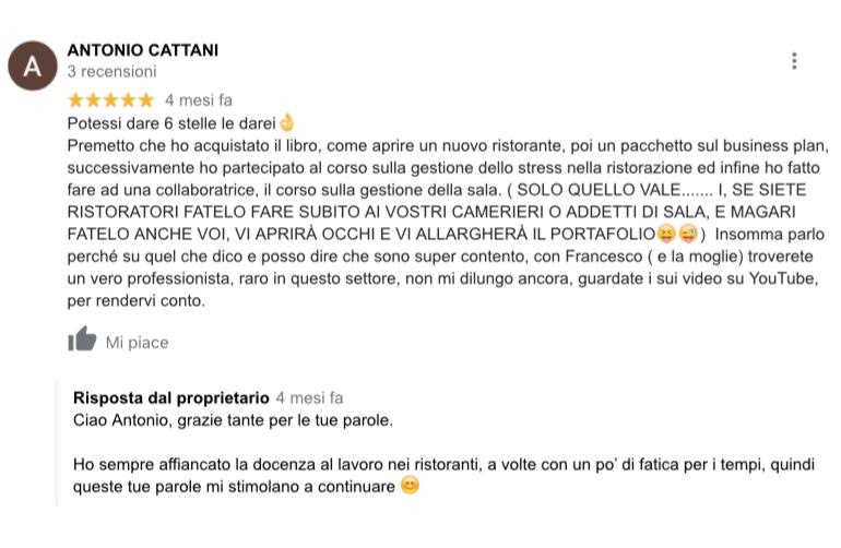 La recensione dell'allievo Antonio Cattani che ha seguito il Corso di Gestione dello Stress.