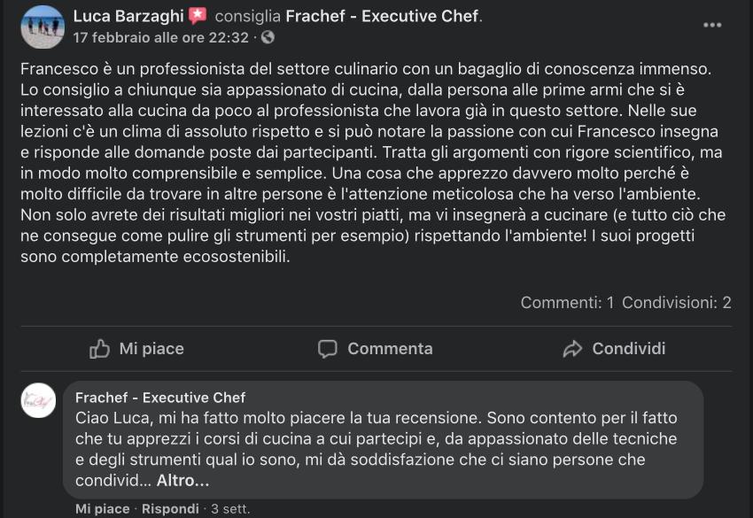 La recensione di Luca sui miei corsi di cucina.