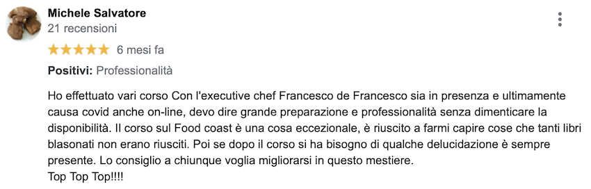 Michele, executive chef, ha frequentato molti miei corsi.