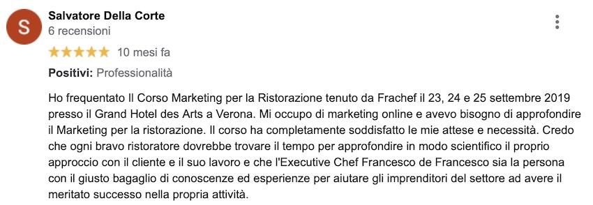 Ecco cosa scrive Salvatore, dopo aver frequentato il mio corso di marketing per la ristorazione.