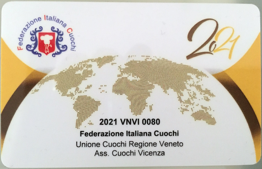 La tessera dell'Associazione Cuochi Vicenza, a cui sono associato.